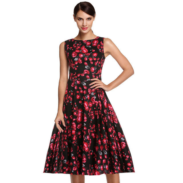 ACEVOG Brand S - 4XL Women Dress Retro Vintage 1950s 60s Rockabilly Floral Swing Summer Dresses Elegant Bow-knot Tunic Vestidos - Monika's Dresses