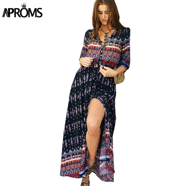 2XL Boho Retro Ethnic Autumn Maxi Dress Women Sexy V-Neck Long Sundress Ladies Half Sleeve Loose Beach Dresses Big Size Vestido - Monika's Dresses