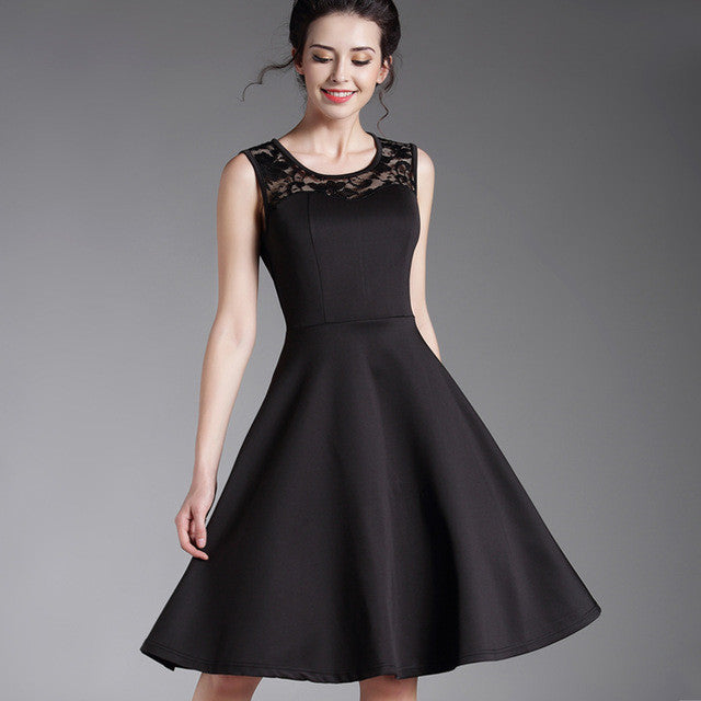 New Summer Style Ladylike Elegant Vintage LBD O-Neck Sexy Lace Sleeveless Womens Expansion High-Waisted Dress  Ball Gown A008 - Monika's Dresses