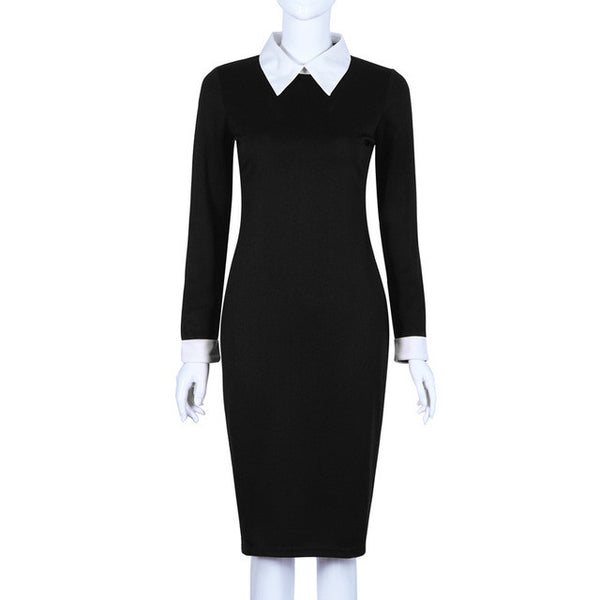 Black Office Dresses Women 2017 Spring New Arrivals Fashion Long Sleeve Pencil Dress Ladies Casual Work Dress With White Collar
