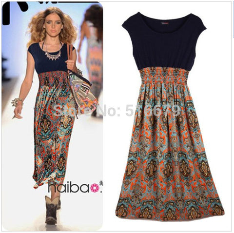Dresses Free Shipping Women's Casual Clothing New 2016 Bohemian Fashion Vintage Print Patchwork Women Long Summer Beach Dress - Monika's Dresses
