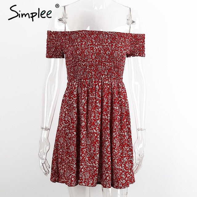 Simplee Off shoulder floral summer dress Vintage high waist beach dress women 2016 Sexy short dresses vestidos - Monika's Dresses