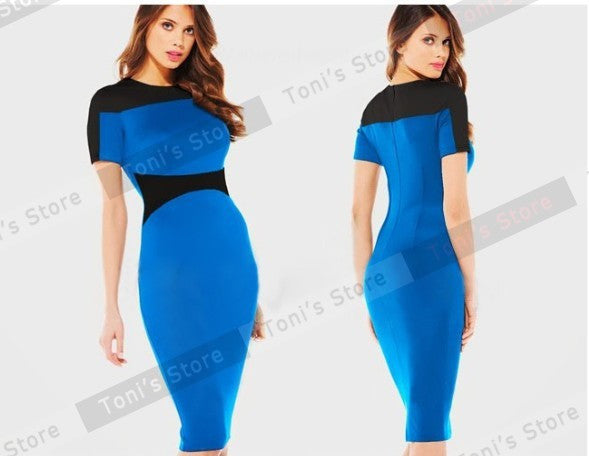 Nice-forever Patchwork Short Sleeve women Elegant Illusion office dresses Bodycon Business Pencil summer Dress 641 - Monika's Dresses