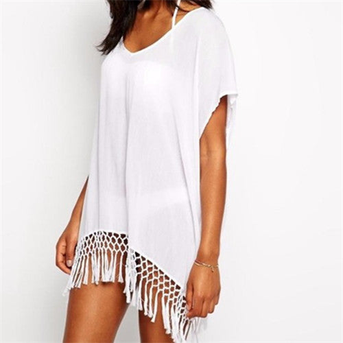 2017 Summer Sexy Beach Dress With Tassels Pareo Beachwear Tunic White Chiffon Sarong Swimsuit Dress Swimwear - Monika's Dresses