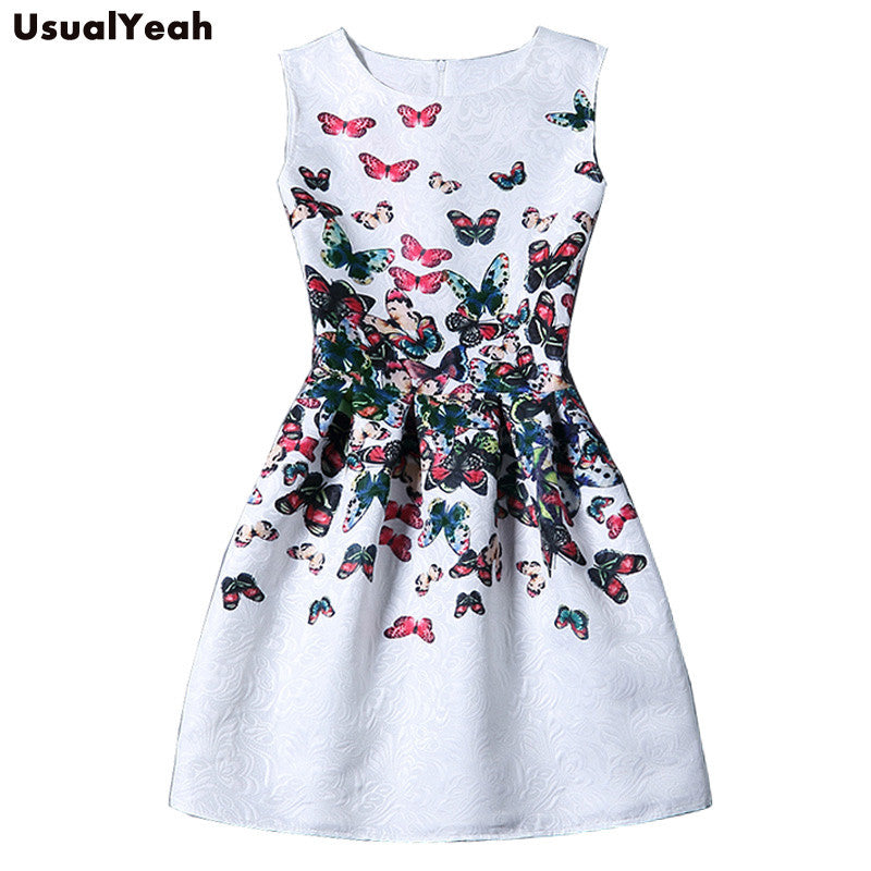 2017 Summer Dress Women Butterfly Sleeveless Casual Dresses Vestido de