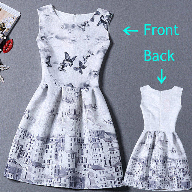 2017 Summer Dress Women Butterfly Sleeveless Casual Dresses Vestido de festa Ladies vintage print plus size jacquard clothing - Monika's Dresses