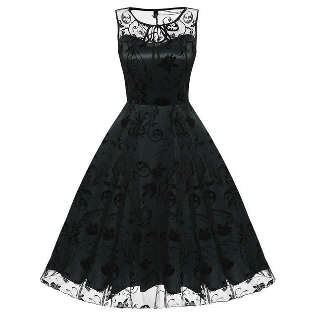 ACEVOG Retro Women Vintage Style Sleeveless Mesh Embroidery Long Cocktail Party  Dress Flower Skull Ball Grown - Monika's Dresses