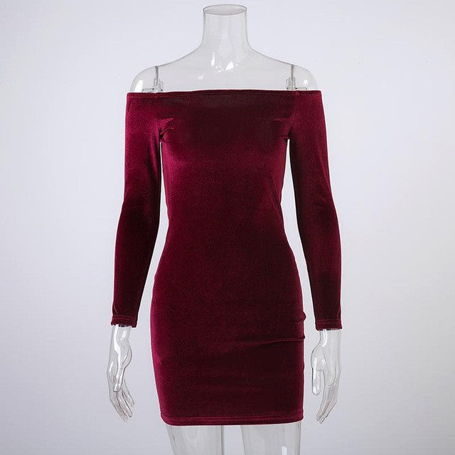 Sexy Off Shoulder Wine Red Sheath Velvet Dress Women Winter Party Long Sleeve 2016 Elegant Pencil Bodycon Ladies Dress Vestidos - Monika's Dresses