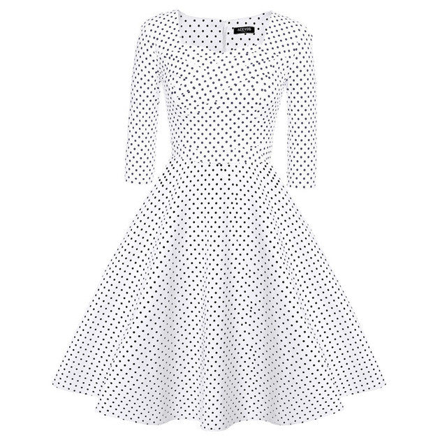 ACEVOG Hot Sale Dresses Women Ladies Casual Midi Long Autumn Summer Plus Size Dress Vestidos Polka Dot S-XXXL Vintage Female - Monika's Dresses