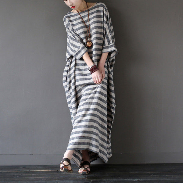 SERENELY 2016 Summer Dresses Vintage Striped Batwing Sleeve Robe Maxi Long Loose Plus Size Women Dress Casual Linen Dress S193 - Monika's Dresses