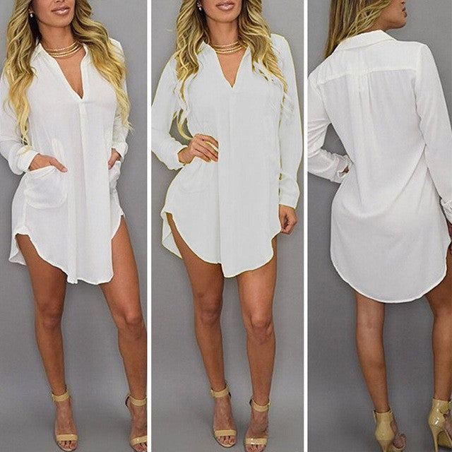 2017 Women Chiffon Shirt Dress Casual Loose See Through Mini Dress Long Sleeve Lapel Sexy Blouses Tops Vestidos Plus Size S-6XL - Monika's Dresses