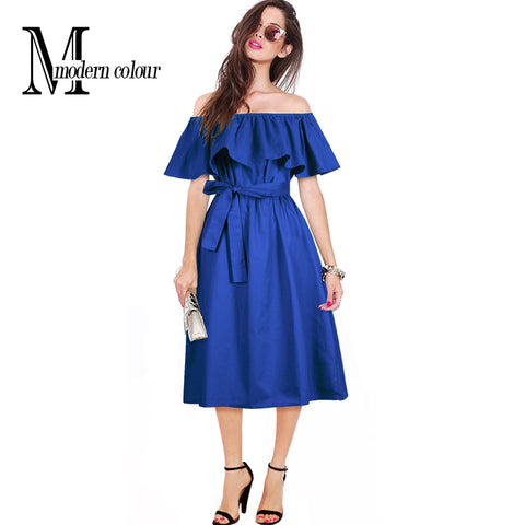 Plus Size Women Dresses Summer 2017 New Fashion Elegant Ruffles Off Shoulder Dress Ladies Casual Midi Dress Black Green Blue - Monika's Dresses