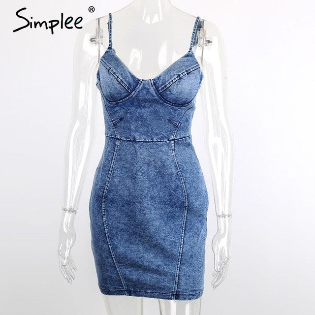 Simplee Apparel Sexy backless 2016 denim dress Women vintage bodycon summer dress Beach party short dresses casual blue vestidos - Monika's Dresses