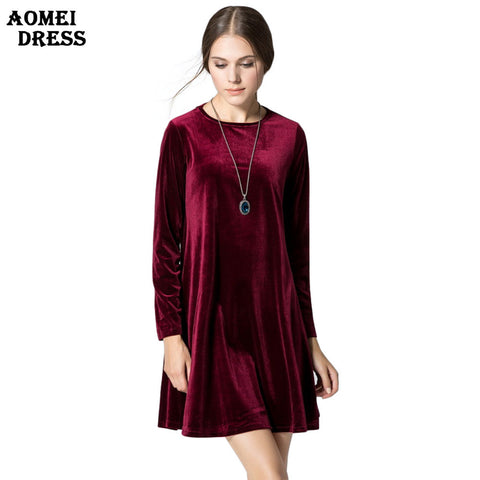 Long Sleeve Women Velvet Dresses Elegant Autumn Winter Slim Fashion Casual Vestidos Plus size Wine Red Blue Robe Gowns Clothing - Monika's Dresses