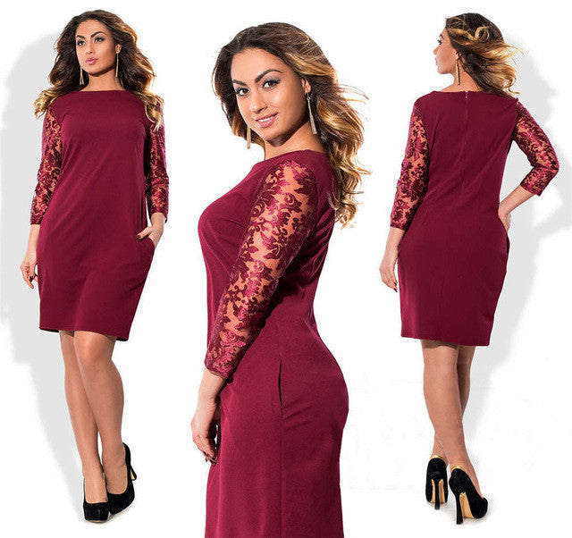 2017 Women Fashion Plus size Elegant lace dress Autumn O-Neck Big size Office Dress casual large size patry dress Vestidos 6XL - Monika's Dresses