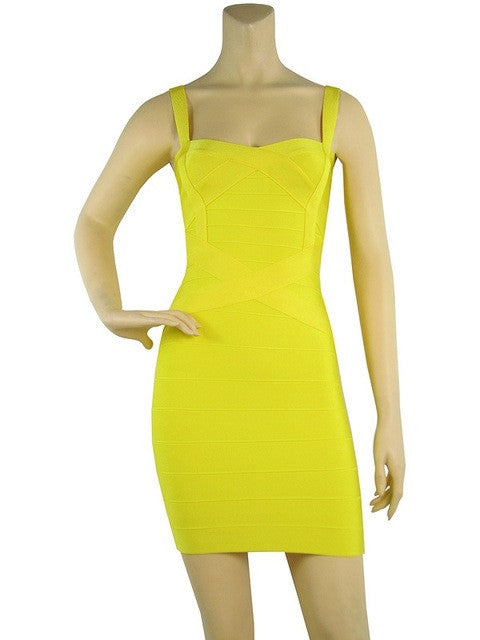 Women sexy bandage dress summer front crosses 8 solid colors spaghetti strap stretch bodycon party ball dress dropship  HL8675 - Monika's Dresses