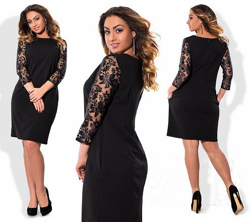 2017 Spring Women Dress Fashion Big Size Office Dress Women Clothing O-Neck Plus Size Bodycon Women Dress Vestidos 6XL 5XL - Monika's Dresses
