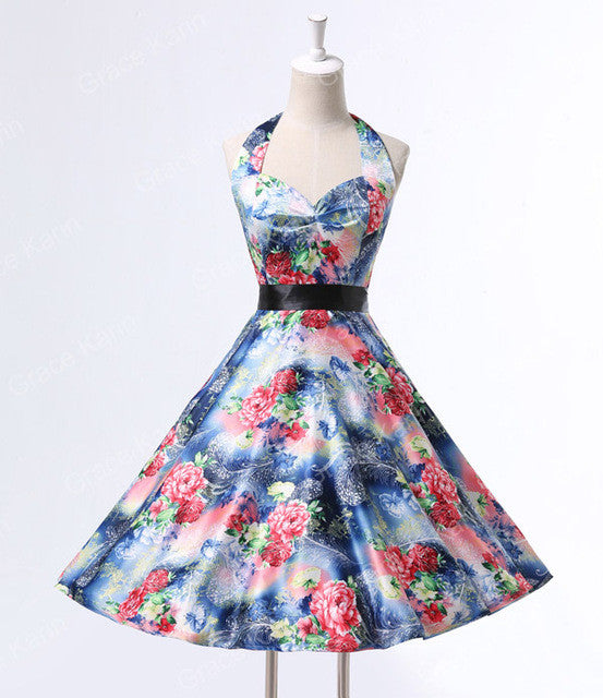 Real Picture 50s rockabilly dresses floral print retro Vintage 60s party dress Pinup Swing Audrey Hepburn dress Grace Karin 2016 - Monika's Dresses