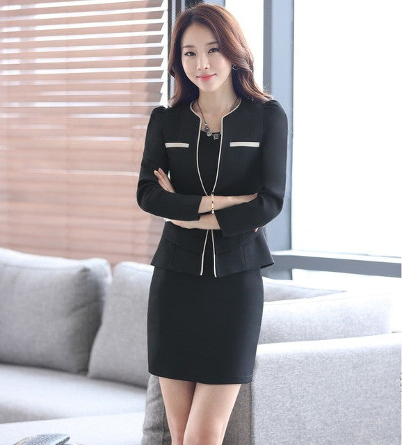 16ca4134a77 Plus Size Professional Spring Fall Business Suits With Jackets And ...