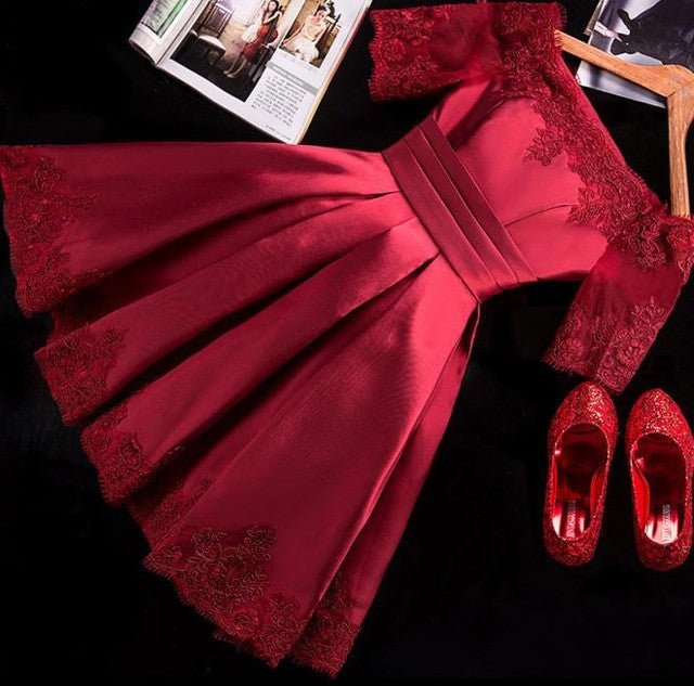 5 Colors Jersey Short Sleeve Ball Gown Embroidery Lace Special Occasion Women Evening Party Knee Length robe de Cocktail Dresses - Monika's Dresses