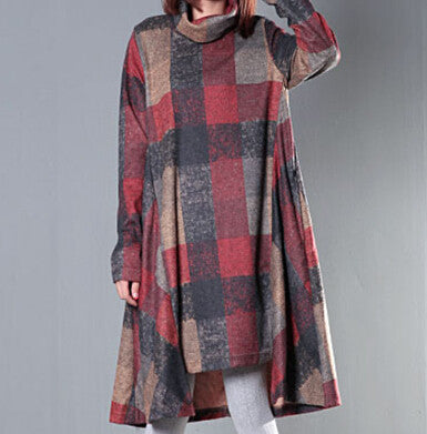 Winter Dress Plus Size Clothing Loose Women Dress Turtleneck Irregular Wool Dress Plaid Long Sleeve Vintage Dress - Monika's Dresses
