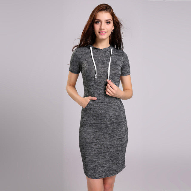 A Forever 2017 Summer Women Dress Vestidos Hoodies Casual Gray Dresses Short Sleeve Slim Sweatshirt Dress For Women Dress 1104 - Monika's Dresses