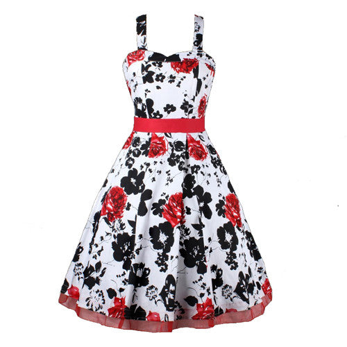 4XL 50s 60s Skull Dress Vestido De Festa Women Casual Print Swing Dress Lace Patchwork Polka Dot Formal Vintage Rockabilly Dress - Monika's Dresses