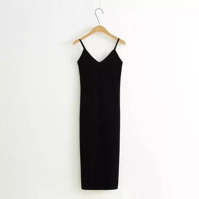 2017 Women Spring Brief Style Velvet Slip Dress Side Vent Full Dress Suspender Strap Sexy One Piece Velvet Dress - Monika's Dresses