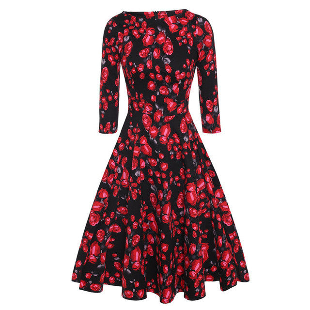 ACEVOG Brand 1950s Dress Autumn Spring 3/4 Sleeve Women Fashion Elegant Vintage Rockabilly Floral Swing Party Dresses 4 Styles - Monika's Dresses