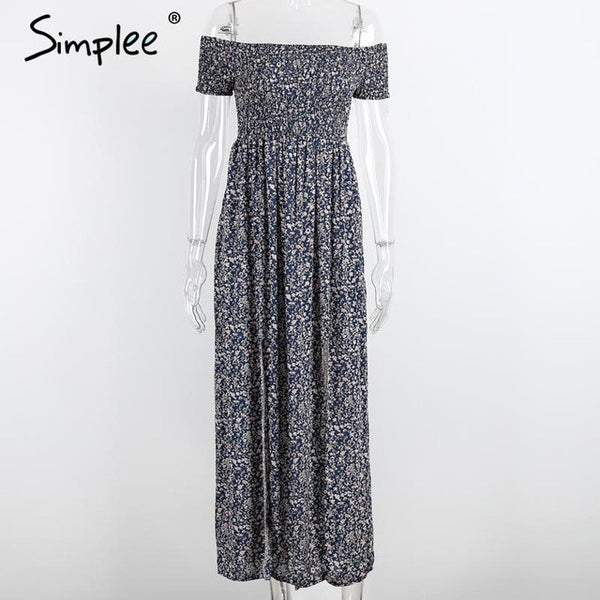 Simplee Apparel sexy side split off shoulder print summer dress High waist pleated maxi dress women Vintage beach dress vestidos - Monika's Dresses