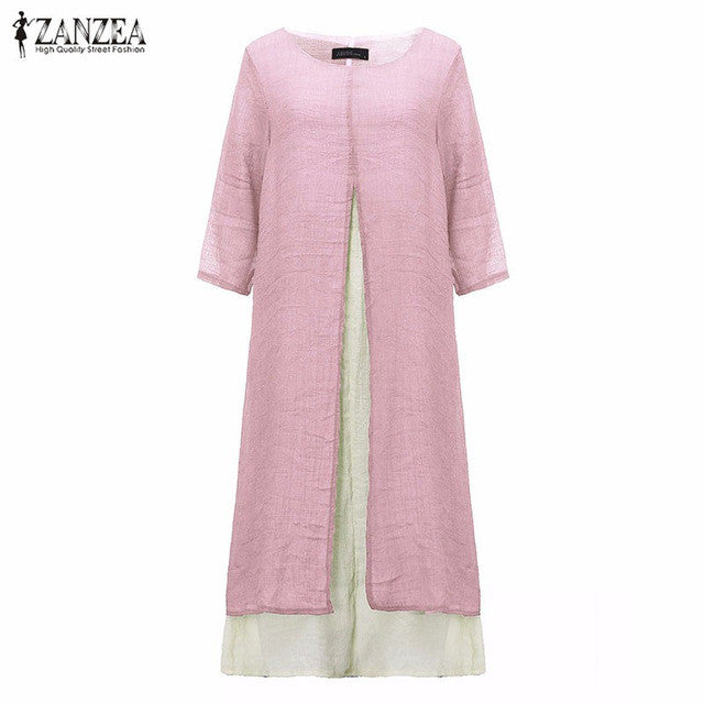 6 Colors ZANZEA 2016 Women Vintage Cotton Linen Dress Casual Loose 3/4 Sleeve Long Maxi Dresses Plus Size S-5XL Vestidos - Monika's Dresses
