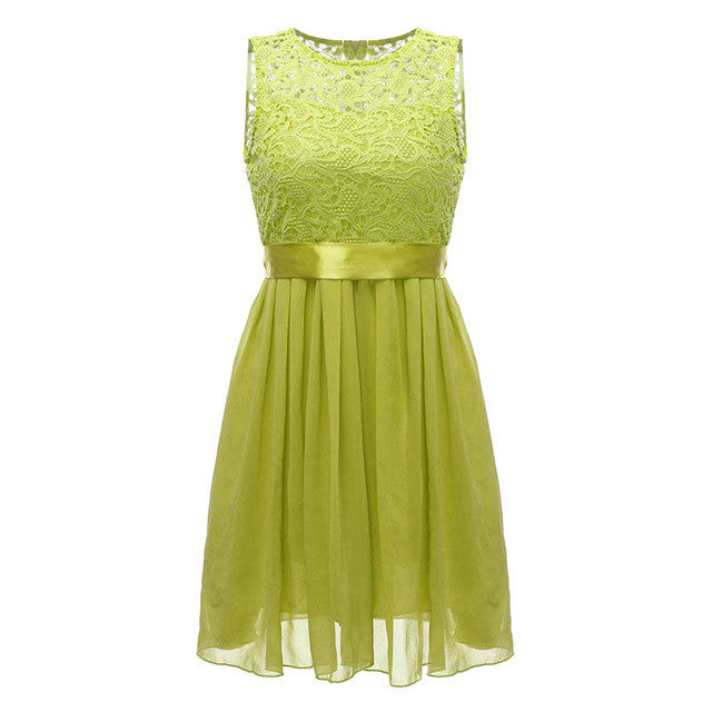 4 Color 2017 Fashion Women Summer Dress Sleeveless Elegant Lace