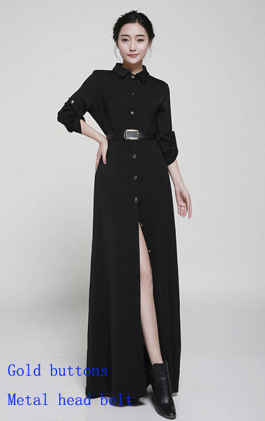 New Style Slim Floor Length Button Long Dress Women Spring Autumn Long Sleeve Fashion Brief Black Dresses Muslim Ladies - Monika's Dresses