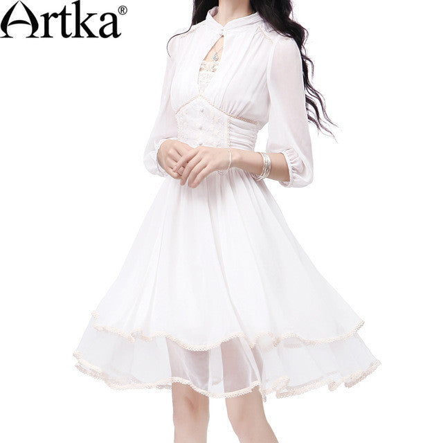 Artka Women's Spring Slim Cut Delicate Lace Embroidery Three Quarter Sleeve Stand Collar  Cinched Waist Swing Hem Dress LA10730X - Monika's Dresses