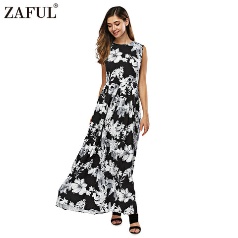ZAFUL New Women Long Summer Dress Retro Floral Print Vintage Dress Sleeveless Floor-Length Female Party Maxi Dress Vestidos - Monika's Dresses