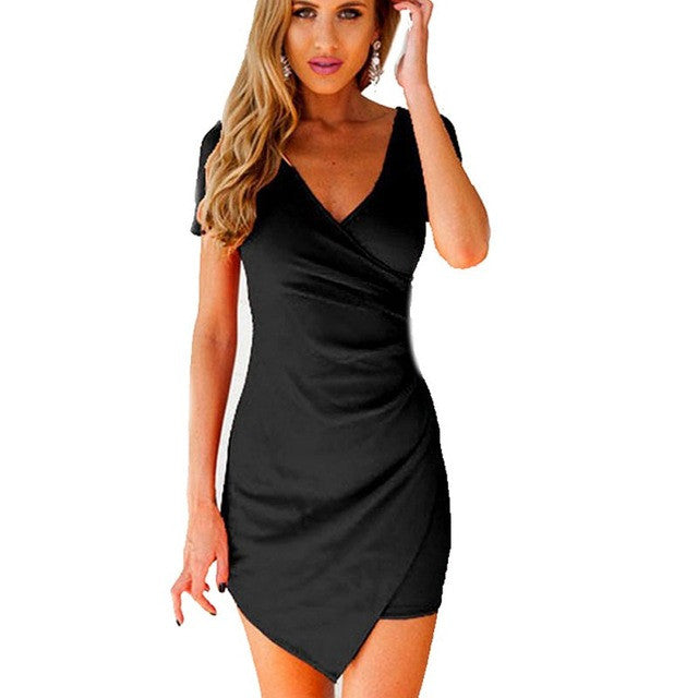 Womens Summer V-neck Mini Dress Bodycon Short Sleeve Party Dresses - Monika's Dresses