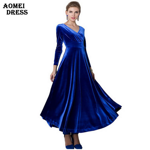 Women Wine Redding Fits Flared Dresses Velvet Warm Dress XXL 3XL Dresses Plus size Winter Ankle Length Maxi Casual Tunics Robes - Monika's Dresses