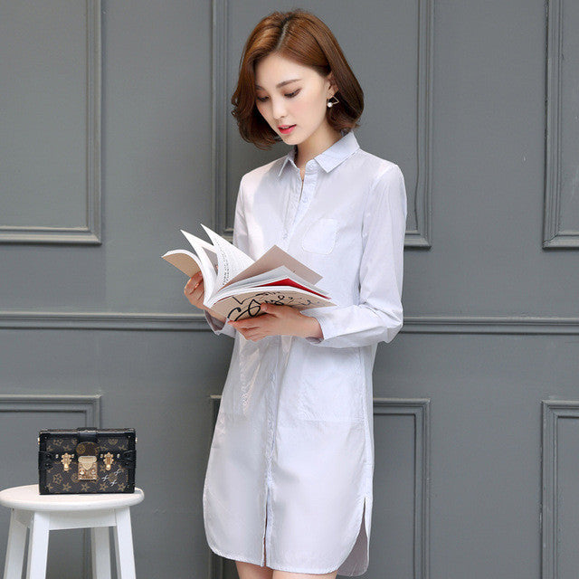 Autumn Shirt Dress Women Korean Style Ladies Short Straight Dress Long Sleeve 2017 New Elegant Dresses Plus Size Women Clothing - Monika's Dresses