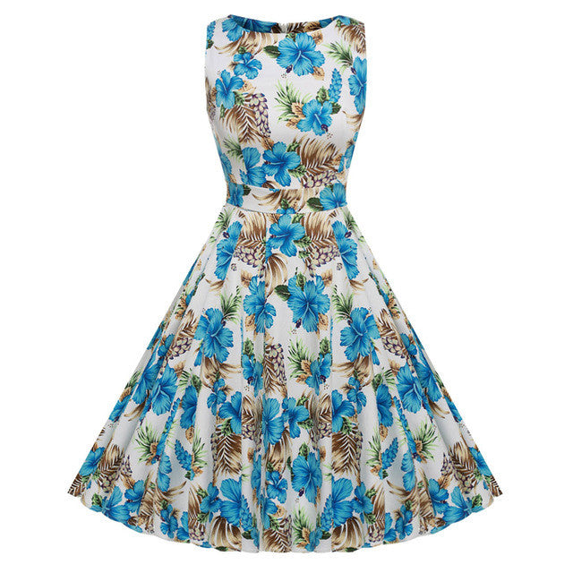 ACEVOG Brand Women 2017 Summer Dress Sleeveless Tunic Casual Vintage 1950s 60s Party Rockabilly Big Swing Long Floral Dresses - Monika's Dresses
