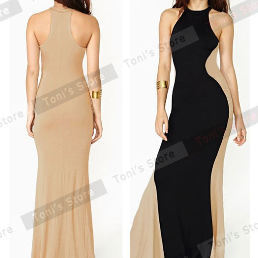 Nice-forever Long Robe maxi dress Individual Optical Illusion Patchwork Polyester Sleeveless Stylish Party Ball Dresses bty639 - Monika's Dresses