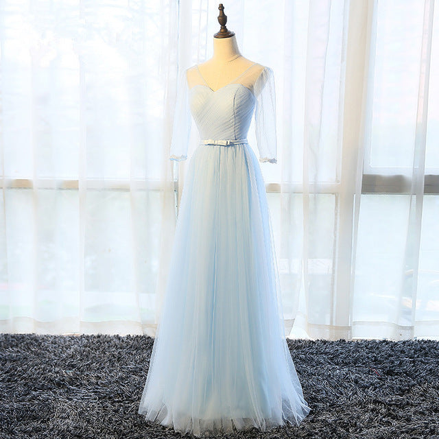Bridesmaid Dresses SSYFashion 4 Styles Floor-length Light Blue Tulle
