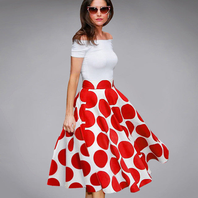 6d84170cff0 Summer Ladylike Patchwork Red Dots Vintage Slash Neck Womens Chic Gorgeous  Ball Gown Off shoulder Casual