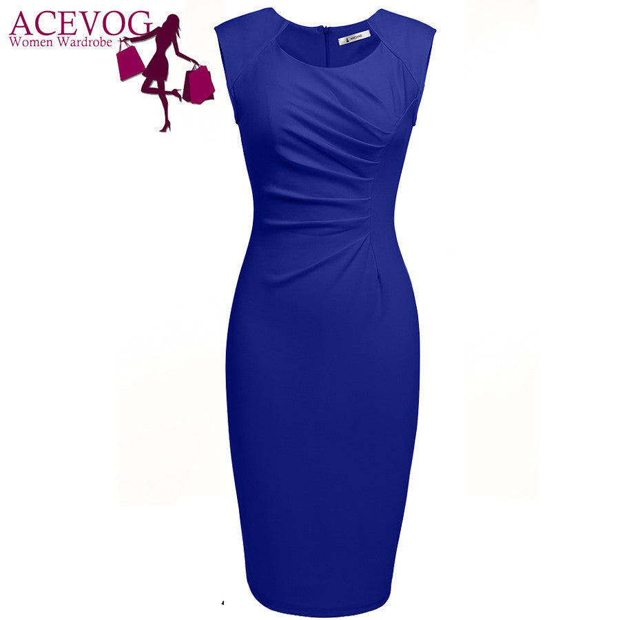 ACEVOG Women Sexy Vestidos 2017 Summer Casual Elegant Dresses Cap Sleeve Pleated Solid Slim Pencil Office Lady Dress - Monika's Dresses