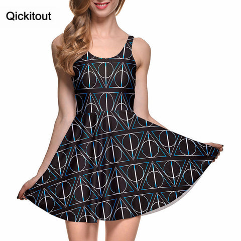 New Hot Sexy Women Casual Dress' DEATHLY HALLOWS REVERSIBLE SKATER DRESS Pleated Drop Shipping S119-95