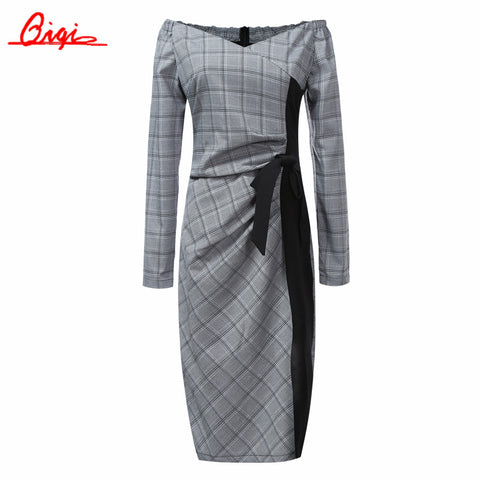 Qiqi New Spring Autumn Plaid Patchwork Dress Business Work V-neck Sexy Bow Tunic Bodycon Sheath Casual Pencil Dresses - Monika's Dresses