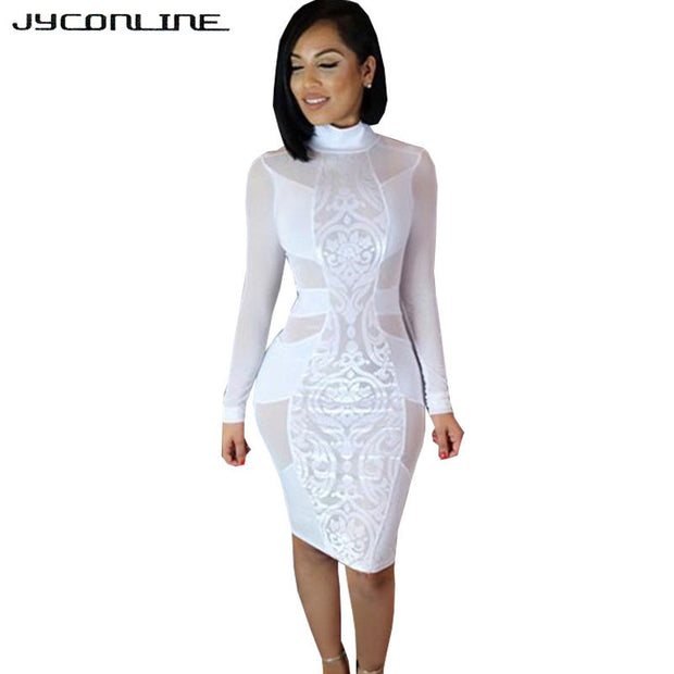 JYConline Long Sleeve Sheer Bodycon Party Dresses Black Sexy Bandage Dress Women White Summer Dress Mesh Patchwork Dress Vestido - Monika's Dresses