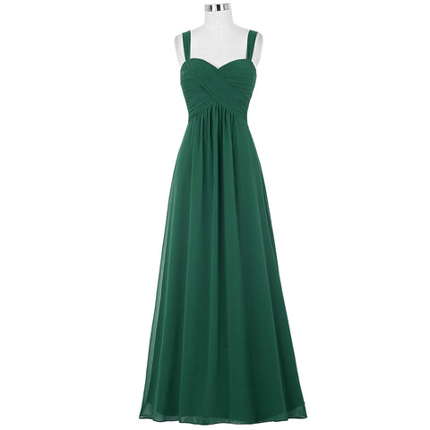Kate Kasin Women Dresses Long Emerald Green Chiffon Dress 2017 Robes De Soiree Longue Royal Blue Purple Wedding Dinner Dress - Monika's Dresses