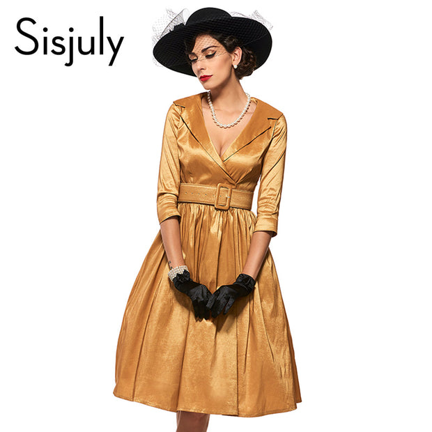 Sisjuly Vintage Dress Women Golden Sashes A-Line Spring 2017 Summer