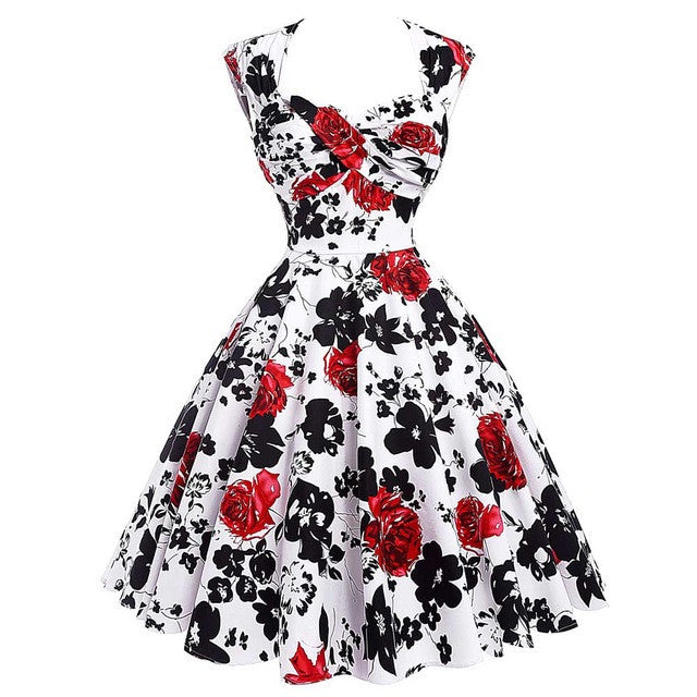 2017 Summer Women Dress Robe Rockabilly 50s Vintage Dresses Plus Size Retro Casual Party Gowns Vestidos Floral Dress Sexy Hollow - Monika's Dresses