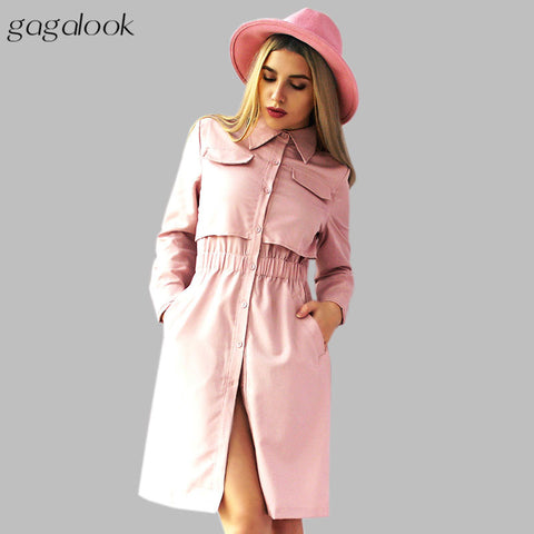 Gagalook 2016 Brand Winter Women Office Dress Pink Black Shirt Robe Vintage Retro Midi Tunic Long Sleeve Vestidos D0811 - Monika's Dresses
